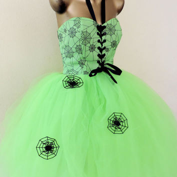 tutu dress, adult tutu dress, Halloween costume, spider witch costume dress, lime neon green tutu dress, sexy halloween costume