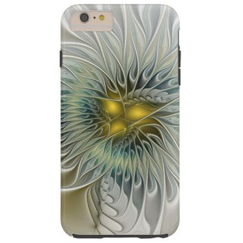 Golden Silver Flower Fantasy abstract Fractal Art Tough iPhone 6 Plus Case