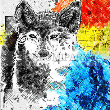 Large Wolf Art Print, Animal Artwork, Wolves Art, Wildlife Decor, Nature Lover Gift Idea, Wolf Wall Decor, Photo Print, Primary Colors Art