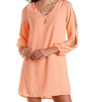 Cold Shoulder Chiffon Shift Dress by Charlotte Russe