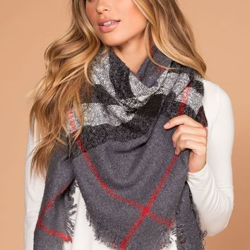 Bradly Grey Plaid Blanket Scarf