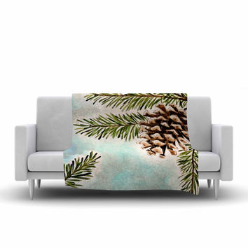 "Christen Treat ""Pinecones and Sky"" Blue Brown Fleece Throw Blanket"