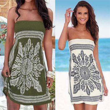 Women Bohemian New Short Mini Dress Floral Embroidered Sexy Loose Strapless Sexy Summer Holiday Ladies MiniI Dress