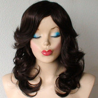 Brown  with auburn highlight wig. Long curly hair with long side bangs wig.Top qualitysynthetic wig.