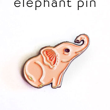 Pink Elephant Pin Enamel Lapel Pin Elephant Pin by boygirlparty