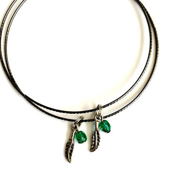 Set of Two Vintage Feather Charm and Green Bead Alex and Ani Inspired Charcoal Grey Stackable Bangle Bracelet