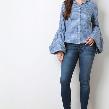 Polka Dot Statement Sleeve Button Up Shirt