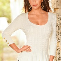 Boston Proper Cable babydoll sweater