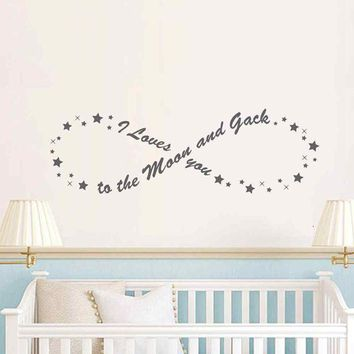 """Vinyl Quote Wall Sticker / Decal - Free Shipping - """"I love you to the moon and back"""" / Infinity"""