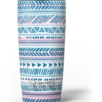 Pink to Blue Tribal Sketch Pattern Yeti Rambler Skin Kit