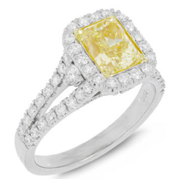 1.85ct Radiant Cut Center and 0.88ct Side 18k Two-tone Gold EGL Certified Natural Yellow Diamond Ring