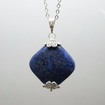Lapis Lazuli Necklace in Sterling Silver Diamond Lapis Lazuli Jewelry - Simple Lapis Necklace - September Birthstone - Third Eye Chakra Heal