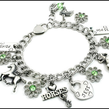 Personalized Child's Jewelry, I Love Horses, Girls Silver Bracelet, Horse Jewelry for Girl, Girls Jewelry, Kids Bracelet