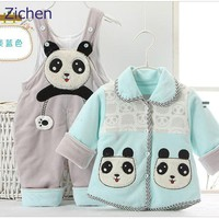 Baby Clothing Set Children Cartoon Panda Bib Pants + Upper Outer Garment Thicken Winter Warm Boys Girls Sets    2 PCS