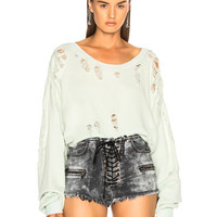 Unravel Distressed Oversized Sweater in Misty Blue | FWRD