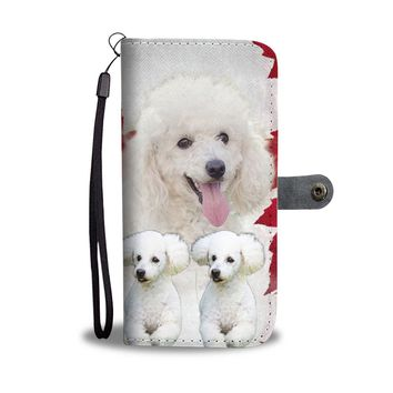 Poodle With White Print Wallet Case- Free Shipping