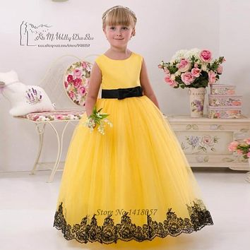 First Communion Dresses For Girls Yellow Black Lace Pageant Dress for Girls Glitz Vestido de Daminha Kids Evening Gowns
