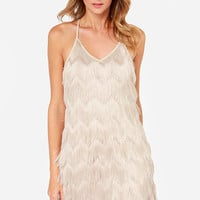 JOA Do You Speak Fringe? Beige Fringe Dress