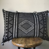 """RARE Double Sided Lumbar Vintage Washed Back & White Sabra Silk Cactus Pillow Cover - 20"""" x 26"""""""