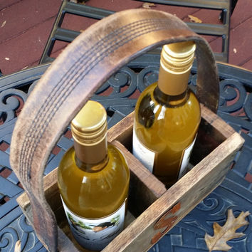 Wine Caddy, Rustic, Reclaimed Wood, Gift basket Christmas Gift, Rustic Decor Home Decor, Custom, Letter, Pallet Board, Hammered Rusted Metal