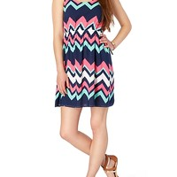 Abstract Chevron Keyhole Dress