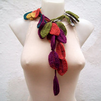 Hand crochet Lariat Scarf Purple Red Yellow Green Colorful Variegated Long Necklace  winter fashion