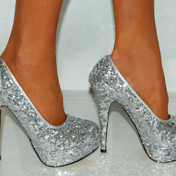 LADIES WOMENS SILVER GOLD SEQUIN GLITTER HIGH HEELS PLATFORMS COURT SHOES PARTY