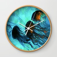 Jellyfish of the Under Sea Volcano Wall Clock by Distortion Art