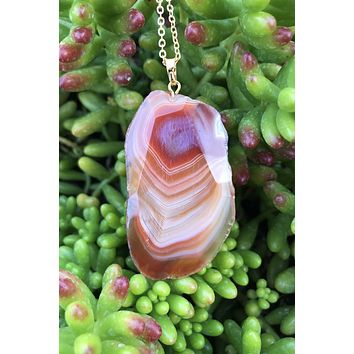 Caramel Brown Agate Necklace #I1089