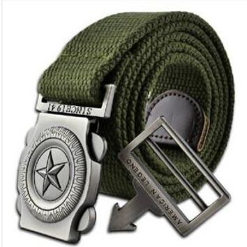 Hot sales Military Belt Men's Canvas Belt with Automatic Buckle Factory Direct Wholesales Free shipping cintos cinturon