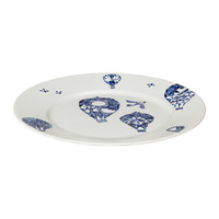 PROMENAD Side plate, white, dark blue - IKEA