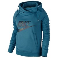 Nike Rally Funnel Neck Camo Logo Hoodie - Women's at Lady Foot Locker