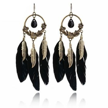 Boho Babe - Feathered Drop Earrings