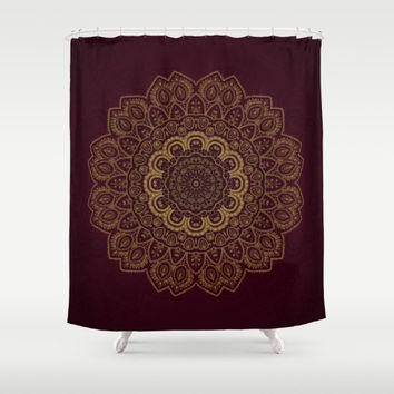 "Shower Curtain - 'Gold Mandala on Royal Red' - 71"" by 74"" Home, Decor, Bathroom, Bath, Dorm, Girl, Decor, Bohemian, Boho, Hippie"