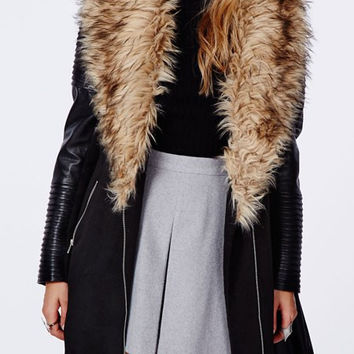 Black Faux Fur Collar Long Sleeve Zip-Up Coat