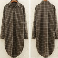Plaid Long Sleeve Buttons Up Loose Fitting Blouse