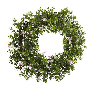 Silk Flowers -18 Inch Mini Ivy And Floral Double Ring Wreath With Twig Base