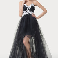 Black Embroidered High-Low Ruffled Sheer Mesh Prom Dress