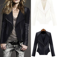 Black Zip-Up Collar with Leather Patch Coat