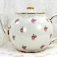 Sadler Rosebud Chintz Teapot, Vintage Porcelain Tea Pot, Made in England 12571