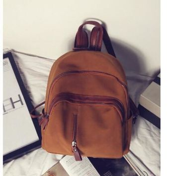 Fashion small women nubuck leather backpack  two shoulder backpack for travel campus student  multi function backpack g-895