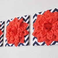 Wall Hanging Set Of Three -Coral Dahlia on Navy and White Chevron Canvases