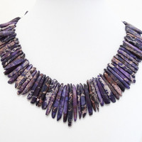 Purple Sea Sediment Jasper  Sticks Necklace, Purple Bib Chunky Spikes Gold Statement Necklace