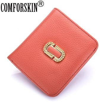 COMFORSKIN Premium 100% Genuine Leather Magnetic Buckle Women Wallet 2017 Brand Fashion Simple Style Woman Purses Carteira