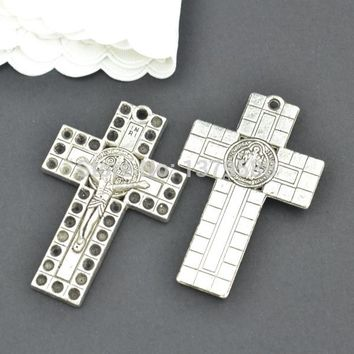 30pcs Antique metal tibetan silver charms cross pendants for diy necklace bracelet jewelry making 43*28mm Z1026