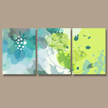 Wall Art Canvas Watercolor Artwork Pottery Flourish Flower Floral Design Aqua Blue Green Aqua Nursery Set of 3 Prints Bedroom Bathroom Three