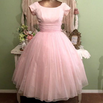 Pretty in Pink 50s Dress, Chiffon Cupcake, 1950s Vintage Dress, XXS/XS, Ballerina Silhouette, Elegant Vintage Dress, Pink Princess Dress, XS
