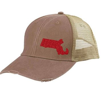 Massachusetts Hat - Distressed Snapback Trucker Hat - off-center state pride hat - Pick your colors