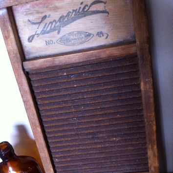 Antique Lingerie Washboard Better  Bogalusa Brands No. 4A, White wood products, made in the USA, primitive tin wash board