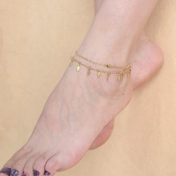 Shiny Jewelry Gift Stylish Cute Ladies New Arrival Sexy Accessory Vintage Simple Design Leaf Tassels Double-layered Chain Anklet [6768803015]